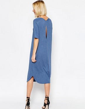 photo Gilli Long Jersey Dress in Blue Melange by Just Female, color Blue Melange - Image 2