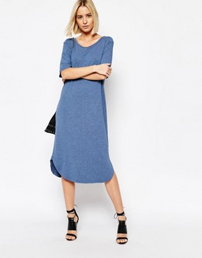 photo Gilli Long Jersey Dress in Blue Melange by Just Female, color Blue Melange - Image 1