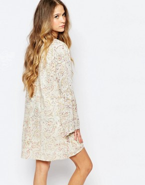 photo Button Through Festival Tea Dress with Bell Sleeves in Floral Print by Billabong, color White - Image 2