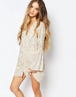 photo Button Through Festival Tea Dress with Bell Sleeves in Floral Print by Billabong, color White - Image 1