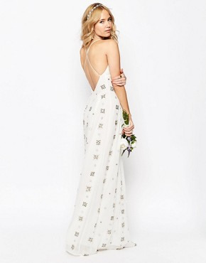 photo All Over Embellished Cami Maxi Dress by ASOS BRIDAL, color White - Image 2