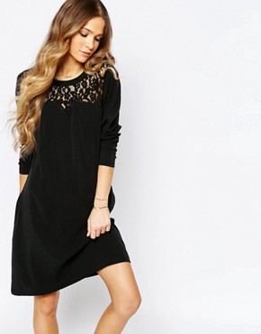 photo Cupro Dress with Lace Details in Black by Maison Scotch, color Black - Image 1