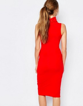 photo High Neck Bodycon Dress with Front Logo by Ellesse, color Red - Image 2