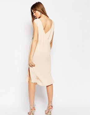 photo Embroidered Sleeveless Column Dress by ASOS PREMIUM, color Multi - Image 2