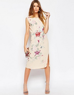 photo Embroidered Sleeveless Column Dress by ASOS PREMIUM, color Multi - Image 1
