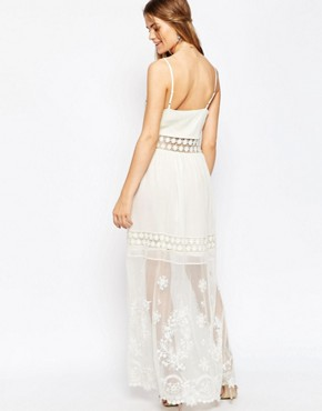 photo Embroidered Lace Cami Maxi Dress by ASOS PREMIUM, color Cream - Image 2
