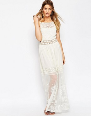 photo Embroidered Lace Cami Maxi Dress by ASOS PREMIUM, color Cream - Image 1