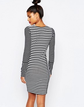photo Stripe Bodycon Knit Sailor Dress by Sonia by Sonia Rykiel, color Ecru/Navy - Image 2