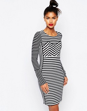 photo Stripe Bodycon Knit Sailor Dress by Sonia by Sonia Rykiel, color Ecru/Navy - Image 1