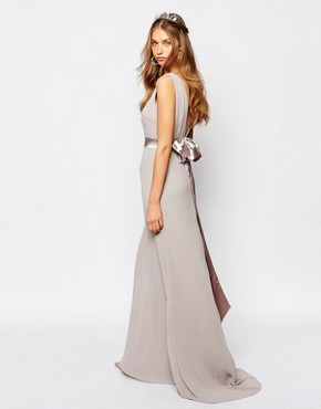 photo Sateen Bow Back Maxi Dress by TFNC WEDDING, color Lavender Fog - Image 2