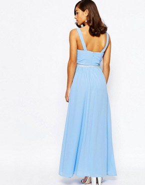 photo V Neck Maxi in Chiffon with Embellished Waist by Jarlo Petite, color Blue - Image 2