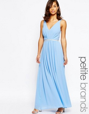 photo V Neck Maxi in Chiffon with Embellished Waist by Jarlo Petite, color Blue - Image 1