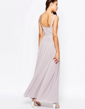 photo V Neck Maxi Dress in Chiffon with Embellished Waist by Jarlo Tall, color Grey - Image 2