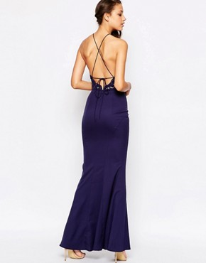 photo High Neck Lace Dress with Tie Back by Jarlo Tall, color Navy - Image 2
