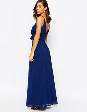 photo Ruffle Front Maxi Dress with Zip Detail by Jarlo Petite, color Navy - Image 2
