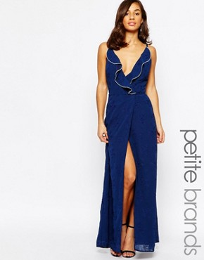 photo Ruffle Front Maxi Dress with Zip Detail by Jarlo Petite, color Navy - Image 1