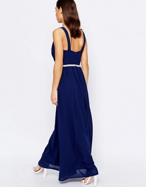 photo V Neck Maxi in Chiffon with Embellished Waist by Jarlo Petite, color Navy - Image 2