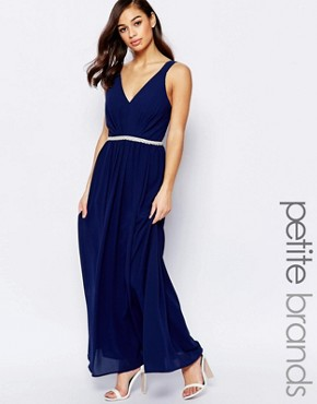 photo V Neck Maxi in Chiffon with Embellished Waist by Jarlo Petite, color Navy - Image 1
