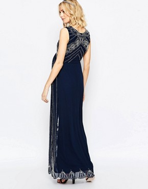 photo Vintage Embellished Maxi Dress by Maya Maternity, color Navy - Image 2