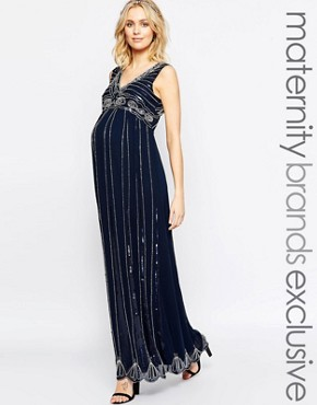 photo Vintage Embellished Maxi Dress by Maya Maternity, color Navy - Image 1