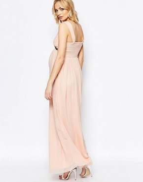 photo Plunge Front Maxi Dress by Maya Maternity, color Pink Champagne - Image 2