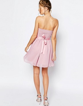 photo Chiffon Mini Bandeau Dress with Detachable Corsage Belt by ASOS WEDDING, color Nude - Image 2