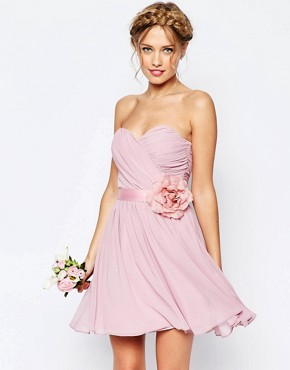 photo Chiffon Mini Bandeau Dress with Detachable Corsage Belt by ASOS WEDDING, color Nude - Image 1