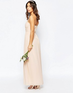 photo Bandeau Chiffon Maxi Dress by TFNC Petite WEDDING, color Nude - Image 2