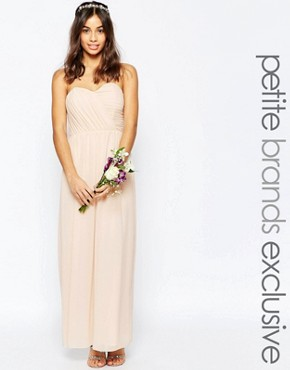 photo Bandeau Chiffon Maxi Dress by TFNC Petite WEDDING, color Nude - Image 1