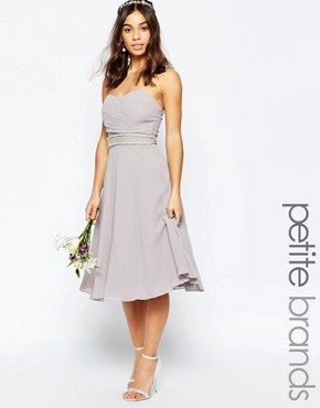 photo Embellished Waist Prom Dress by TFNC Petite WEDDING, color Grey - Image 1