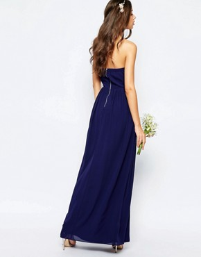 photo Bandeau Chiffon Maxi Dress by TFNC Tall WEDDING, color Navy - Image 2