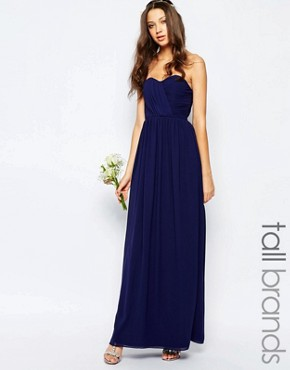 photo Bandeau Chiffon Maxi Dress by TFNC Tall WEDDING, color Navy - Image 1