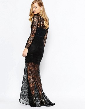 photo Lace Piper Maxi Dress in Black by Body Frock, color Black - Image 2