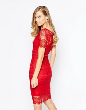 photo Lisa Lace Dress in Scarlet by Body Frock, color Scarlet - Image 2