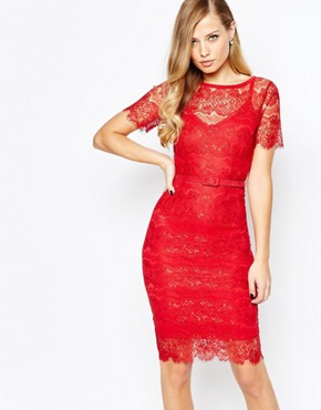 photo Lisa Lace Dress in Scarlet by Body Frock, color Scarlet - Image 1