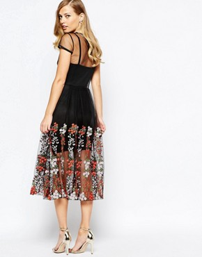photo Delilah Embroidered Dress in Black by Body Frock, color Black - Image 2