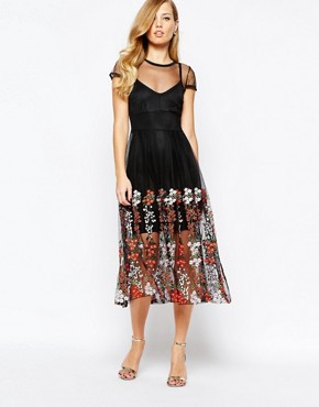 photo Delilah Embroidered Dress in Black by Body Frock, color Black - Image 1