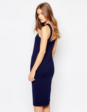 photo Midi Pencil Dress with Square Neck by Twin Sister, color Navy - Image 2