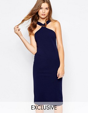 photo Midi Pencil Dress with Square Neck by Twin Sister, color Navy - Image 1