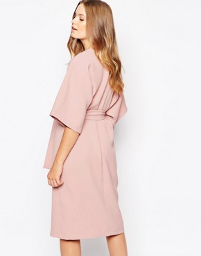 photo Kimono Midi Dress with Tie Belt by Twin Sister, color Nude Pink - Image 2