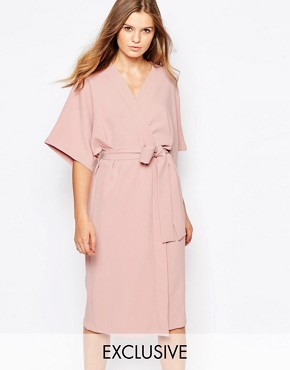 photo Kimono Midi Dress with Tie Belt by Twin Sister, color Nude Pink - Image 1
