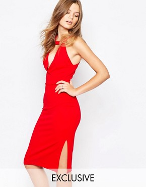 photo V neck Knee Length Pencil Dress by Twin Sister, color Red - Image 1