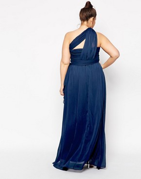 photo One Shoulder Maxi Dress by Truly You, color Navy - Image 2
