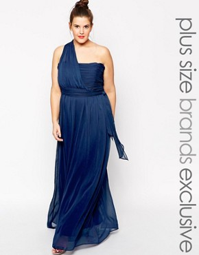 photo One Shoulder Maxi Dress by Truly You, color Navy - Image 1
