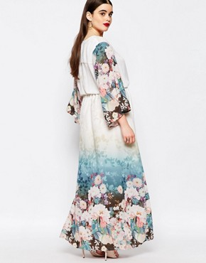 photo Floral Border Print Maxi Dress by Truly You, color Multi - Image 2