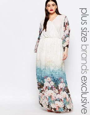 photo Floral Border Print Maxi Dress by Truly You, color Multi - Image 1