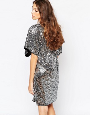 photo Sequin Kimono Sleeve Dress by First & I, color Silver Sequin - Image 2
