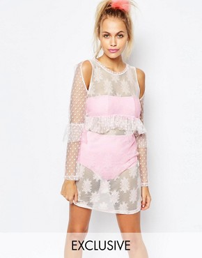 photo X Joanna Kuchta Sheer Dress with Frill Peplum Hem by The Ragged Priest, color Pink - Image 1