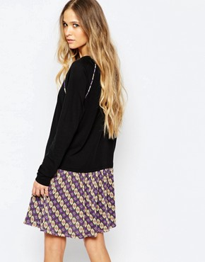 photo Drop Waist Dress with Printed Skirt by Maison Scotch, color Black - Image 2