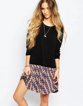 photo Drop Waist Dress with Printed Skirt by Maison Scotch, color Black - Image 1